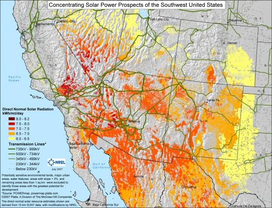SW US Solar map