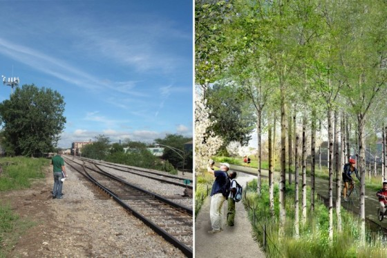 Chicago has a vision to turn abandoned industrial railways into trails, as shown in these images from The Trust for Public Land / Michael Van Valkenburgh Associates, Inc.